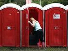 Posh public bathroom pops up, with music, art
