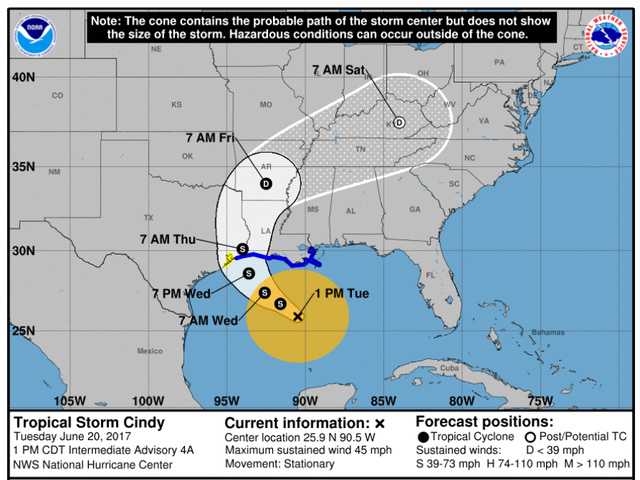 Cindy puts large swath of US Gulf coast under tropical storm warning