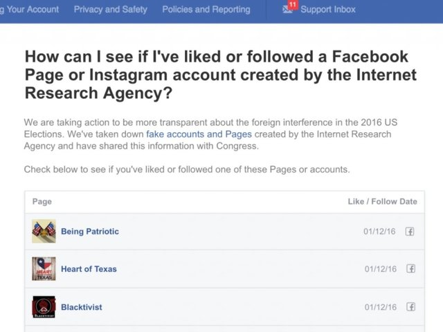 Facebook to show Russia-linked pages you liked