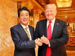 Trump and Shinzo Abe meet
